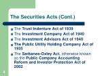 the securities acts cont