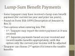 lump sum benefit payments