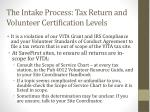 the intake process tax return and volunteer certification levels