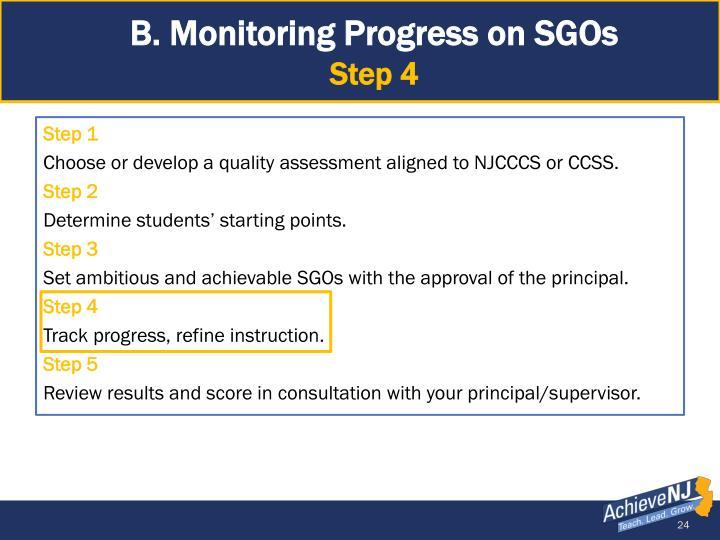 B. Monitoring Progress on SGOs