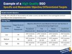 example of a high quality sgo specific and measurable objective differentiated targets