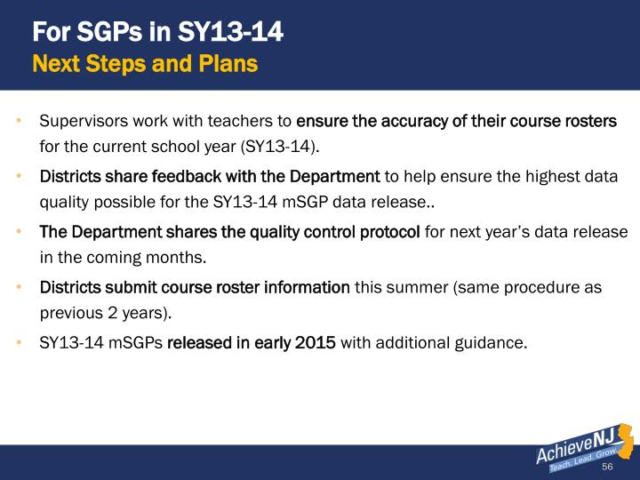 For SGPs in SY13-14