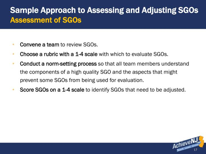 Sample Approach to Assessing and Adjusting SGOs