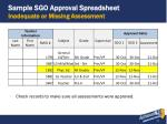 sample sgo approval spreadsheet inadequate or missing assessment