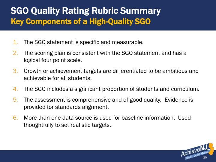 SGO Quality Rating Rubric Summary