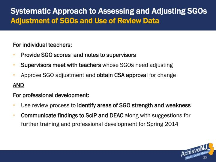 Systematic Approach to Assessing and Adjusting SGOs