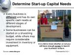 determine start up capital needs