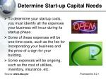 determine start up capital needs1