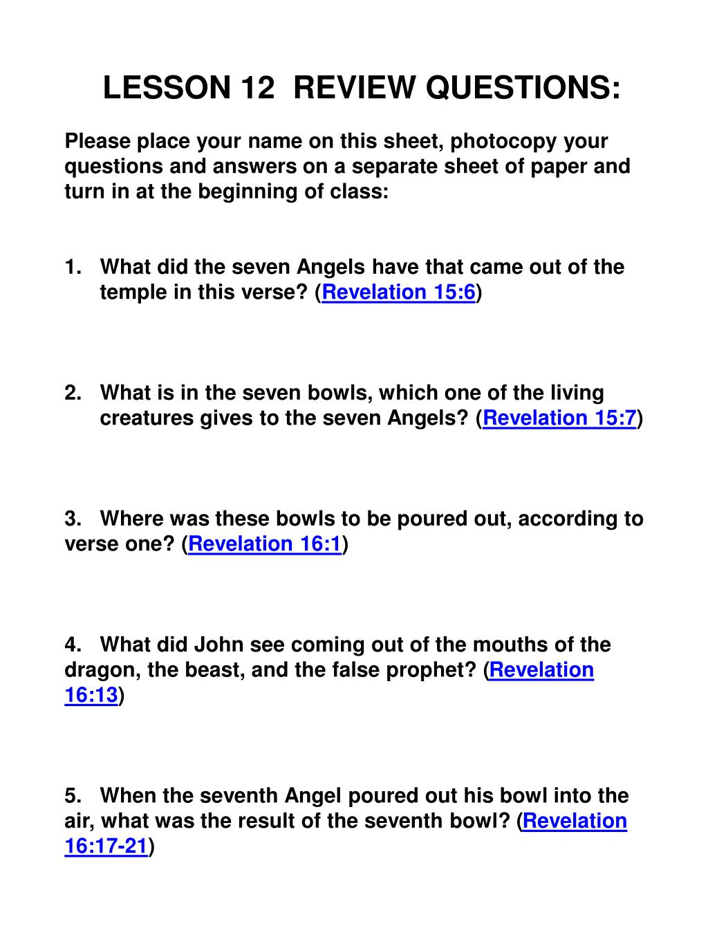 PPT - Chapter 12 Seven Angels, Seven Bowls, and a Final