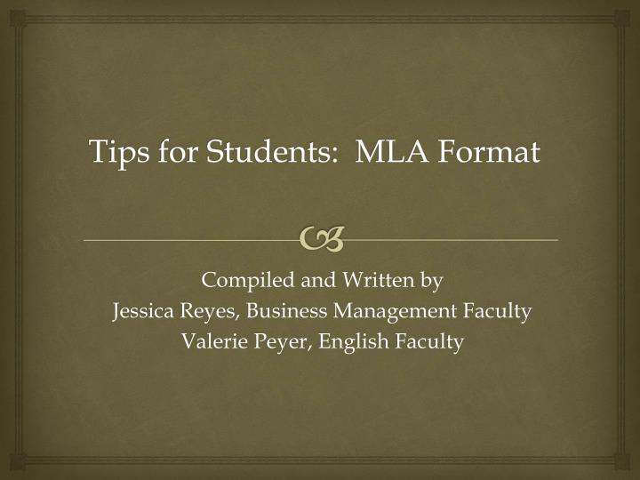tips for students mla format n.