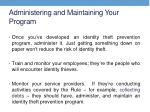 administering and maintaining your program