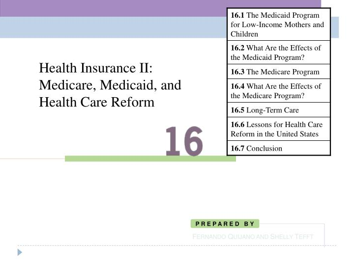 health insurance ii medicare medicaid and health care reform n.