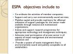 espa objectives include to