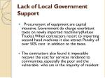 lack of local government support