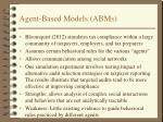agent based models abms
