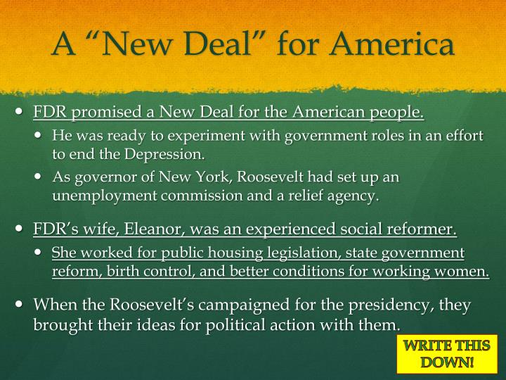 """A """"New Deal"""" for America"""