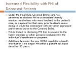 increased flexibility with phi of deceased patients