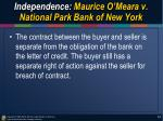 independence maurice o meara v national park bank of new york2