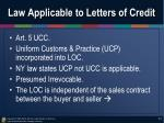 law applicable to letters of credit