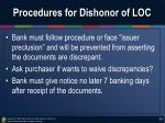 procedures for dishonor of loc