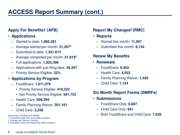 Access report summary cont