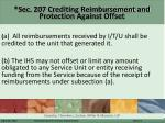 sec 207 crediting reimbursement and protection against offset