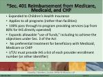 sec 401 reimbursement from medicare medicaid and chp
