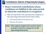 contributions manner of reporting by category1