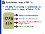contributions scope of fas 116