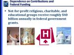 dependence on contributions and federal funding