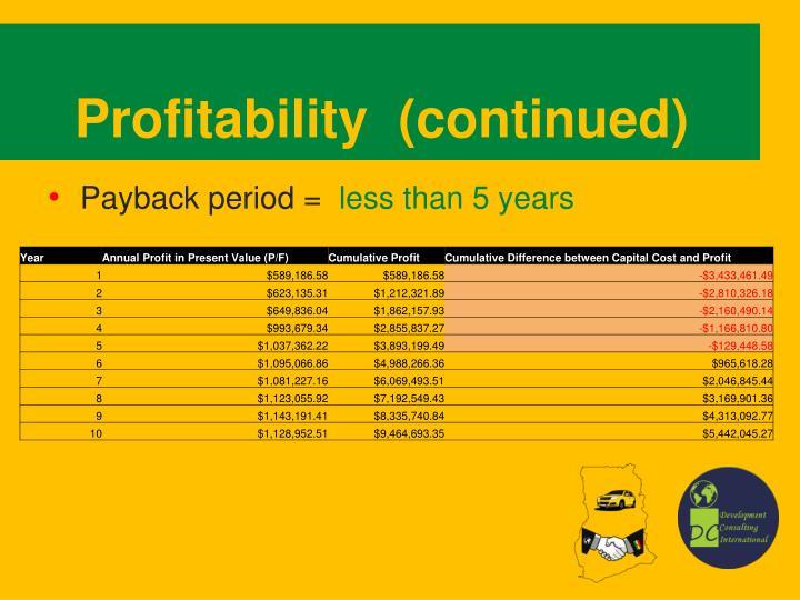 Profitability  (continued)