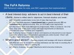the fofa reforms nb parliament makes the rules and asic supervises their implementation