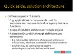 quick aside solution architecture