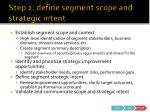 step 2 define segment scope and strategic intent