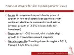 financial drivers for 2011 managements view