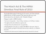 the hitech act the hipaa omnibus final rule of 2013
