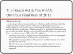 the hitech act the hipaa omnibus final rule of 20131