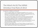 the hitech act the hipaa omnibus final rule of 20132