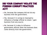 did your company violate the foreign corrupt practices act