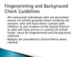 fingerprinting and background check guidelines