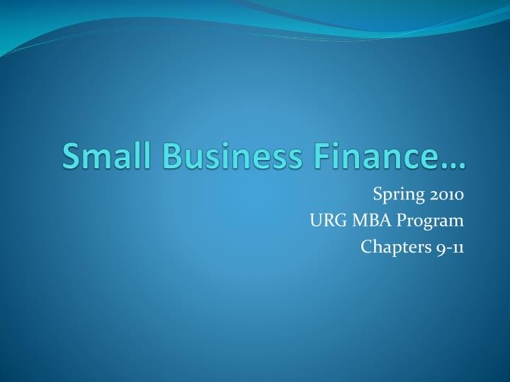 small business finance n.
