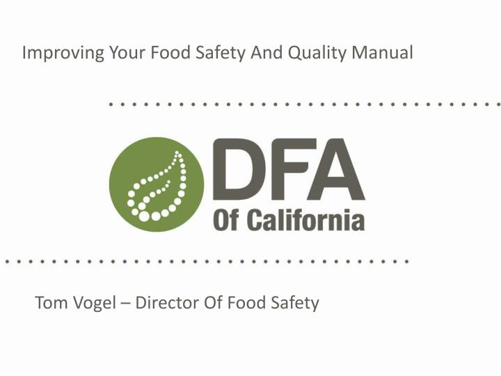 improving your food safety and quality manual n.