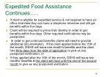 expedited food assistance continues