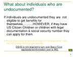 what about individuals who are undocumented