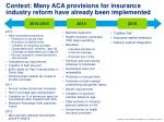 context many aca provisions for insurance industry reform have already been implemented