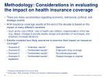 methodology considerations in evaluating the impact on health insurance coverage