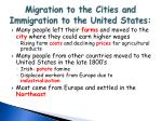 migration to the cities and immigration to the united states