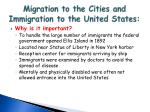 migration to the cities and immigration to the united states1