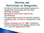 nativism and restrictions on immigration