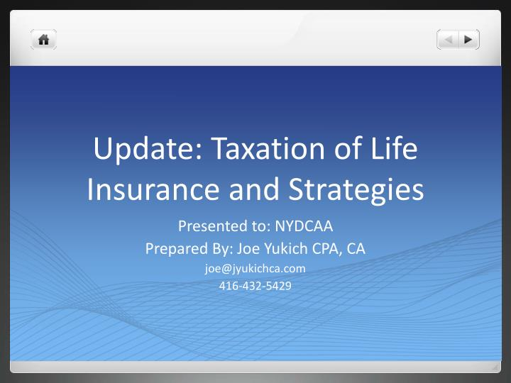 update taxation of life insurance and strategies n.